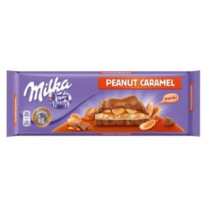 Milka karamell ízű tejszínes töltelékkel, karamellás töltelékkel és egész mogyoróval töltött alpesi tejcsokoládé 276G