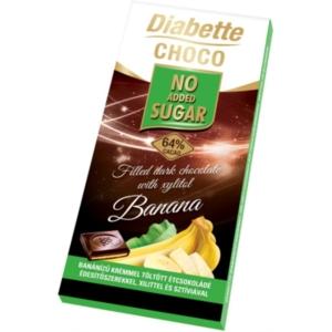 Diabette Choco banán ízű krémmel töltött étcsokoládé 80G Diabetikus