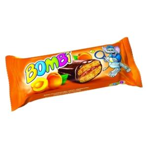 Bombi Star Kakaós bevonómasszába mártott, sárgabarack ízű lekvárral töltött aprósütemény 45G