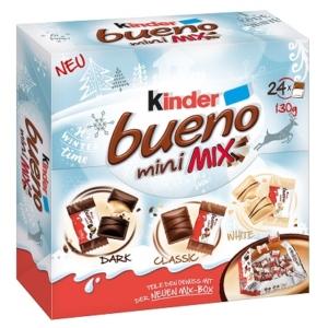 Kinder Bueno Mini Mix ét-tej-fehércsokoládéval bevont ostya tejes-mogyorós krémmel töltve 130G