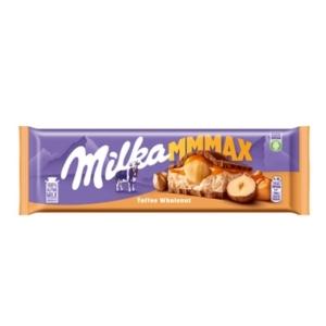 Milka 300G Toffee Wholenut karamell ízű tejes töltelékes, karamell töltelékes és egész mogyorós alpesi tejcsokoládé 300G