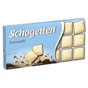 Schogetten Stracciatella fehér csokoládé pörkölt kakaóforgáccsal és étcsokoládé 100 g