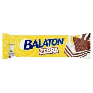 Balaton Zebra Kakaós tejmasszával mártott töltött ostyaszelet karamellel és búzapehellyel