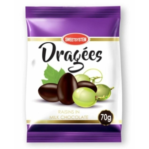 Dragee 70G Tejcsokoládéval Bevont Mazsola