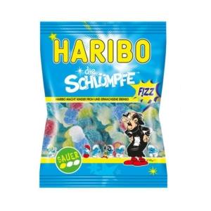 Haribo Schlümpfe Fizz Hupikék Törpikék savanyú gumicukor 85G