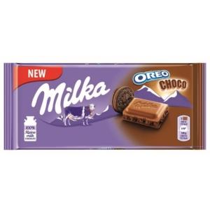 Milka Oreo Choco kakaós krémtöltelékkel és kakaós kekszdarabokkal töltött alpesi tejcsokoládé100 g