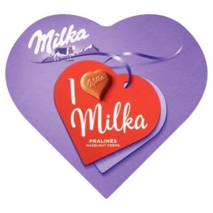 Milka Desszert Nut-Nougat Cream mandulával és mogyoródarabokkal töltött alpesi tejcsokoládé praliné 44G
