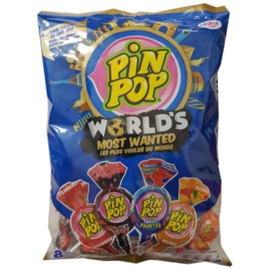Aldor Pin Pop  Eper, Fekete Cseresznye, Mangó, Eper-Dinnye Nyalóka+Rágó 48x17G