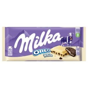 Milka Oreo White vaníliaízű, tejes krémtöltelékkel és kakaós kekszdarabokkal töltött fehér csokoládé 100 g