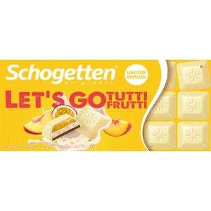 Schogetten 100G Fehér és Tejcsokoládé Tutti Frutti ízű Töltelékkel