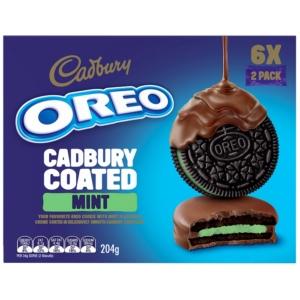Oreo Cadbury csokoládéba mártott mentolos ízű töltelékkel töltött kakaós keksz 6*34 g