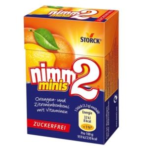 Nimm2 Minis gyümölcsös töltött keménycukor narancs és citrom ízben vitaminokkal 40G Cukormentes