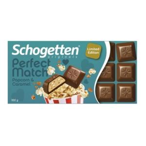 Schogetten Perfect Match popcorn és karamellel töltött tejcsokoládé 100G