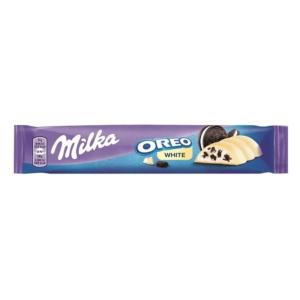 Milka Oreo White kakaós kekszdarabokkal és vaníliaízű tejes krémtöltelékkel töltött fehércsokoládé 41 g