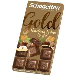 Schogetten Gold nugátkrémmel és mogyoróval töltött tejcsokoládé 100G