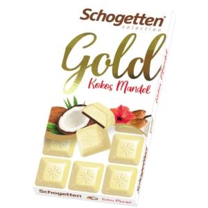 Schogetten Gold Kókusszal és Mandulával töltött fehércsokoládé 100G