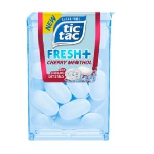 Tic Tac Fresh+ Cherry Menthol cseresznye és mentol ízű drazsé édesítőszerekkel 11,9 g