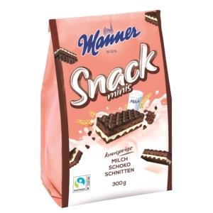 Manner tej-csokoládékrémmel töltött teljes kiőrlésű lisztből készült ropogós ostyaszelet 30%-kal kevesebb cukortartalommal 300G