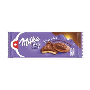 Milka Chocojaffa csokoládé ízű habosított töltelékkel ,tetején alpesi tejcsokoládéval bevont piskótatallér 128G