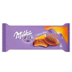 Milka Chocojaffa Alpesi tejcsokoládéval bevont piskótatallér narancs ízű zselés töltelékkel 147G