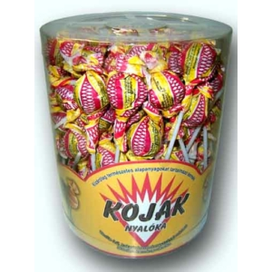 Kojak vanília ízű kakaós bevonómasszával mártott töltetlen nyalóka 12G