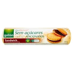 Gullón csokoládé ízű krémmel töltött szendvicskeksz 250 g, hozzáadott cukor nélkül