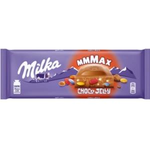 Milka Choco Jelly cukordrazsés, robbanócukorkás és megyyeízű zselédarabkás alpesi tejcsokoládé 250G