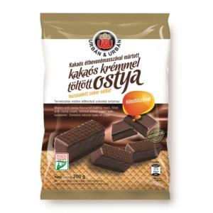 Urbán kakaós étbevonómasszával mártott, kakaós krémmel töltött ostya 200 g, hozzáadott cukor nélkül