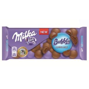 Milka levegőbuborékos tejcsokoládé töltelékkel töltött alpesi tejcsokoládé 90G