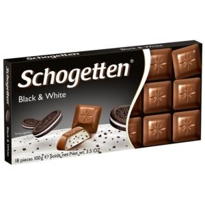 Schogetten Black & White  vaníliakrém-töltelékkel és kakaós kekszdarabokkal töltött tejcsokoládé 100 g