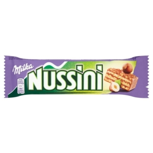 Milka Nussini mogyorókrémmel töltött alpesi tejcsokoládéval bevont, ropogós ostya 31,5 g