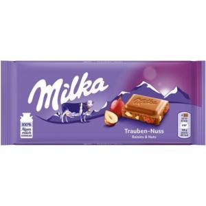 Milka mazsolával és mogyoródarabokkal töltött alpesi tejcsokoládé 100G