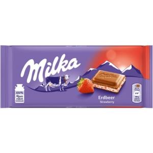 Milka 100G Eperrel ízesített joghurtos krémmel töltött alpesi tejcsokoládé 100G