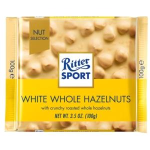 Ritter Sport Fehércsokoládé egész mogyoróval és rizspehellyel 100G