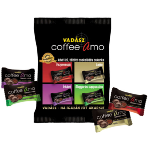 Vadász Coffee AMO 4 féle kávé ízű, töltött csokoládés cukorka 100g
