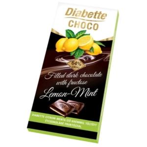 Diabette Choco citrom-menta ízű krémmel töltött étcsokoládé 80G Diabetikus