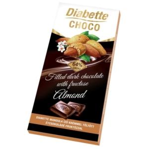 Diabette Choco mandulával töltött étcsokoládé 80G Diabetikus