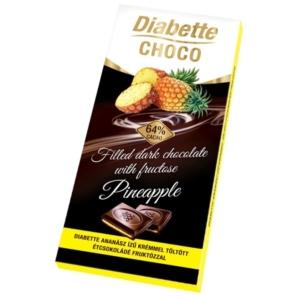 Diabette Choco ananász ízű krémmel töltött étcsokoládé 80G Diabetikus