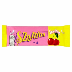 Csemege Szamba Étcsokoládéval bevont szelet rumos ízű kakaós töltelékkel és marcipános-meggyes töltelékkel 25G