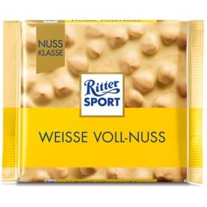 Ritter Sport fehér csokoládé egész mogyoróval és rizspehellyel 100 g