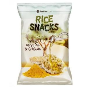 BenlianFood oliva olajos és kurkumás puffasztott rizsszelet 50 g