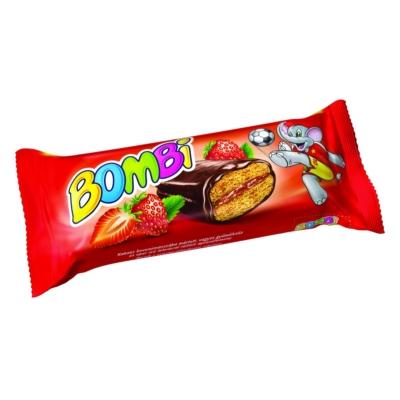 Bombi Star Kakaós bevonómasszába mártott,  eper ízű lekvárral töltött aprósütemény 45G