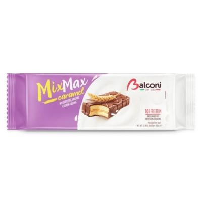 Balconi MixMax kakaós bevonatba mártott karamellás krémmel töltött piskóta 350G