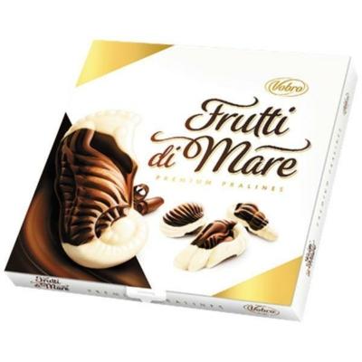 Vobro Frutti Di Mare karamell,mogyoró,kakaó,tej ízű krémmel töltött fehér-és étcsokoládé praliné 185G
