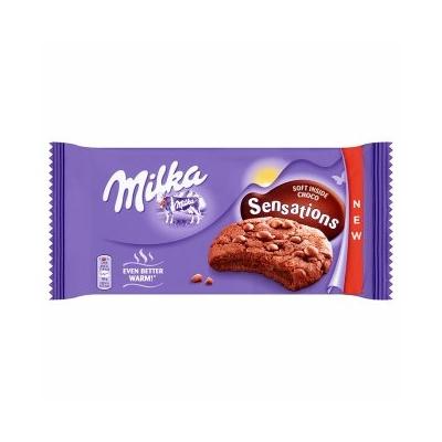 Milka középen puha kakaós keksz 156 g, alpesi tejcsokoládé darabkákkal