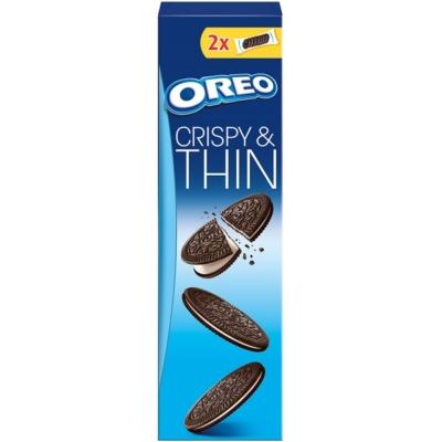 Oreo vanília ízű töltelékkel töltött, ropogós és vékony kakaós keksz