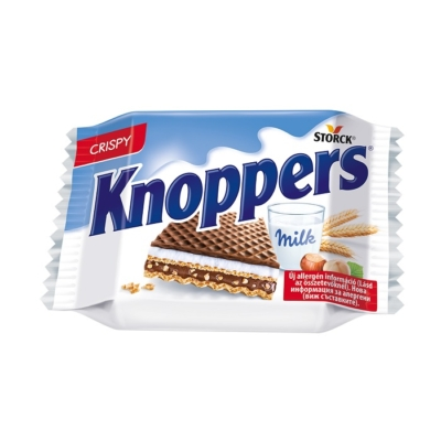 Knoppers mogyorókrémmel-tejjel Töltött ostya kakaós tejbevonóval félig mártva 25G