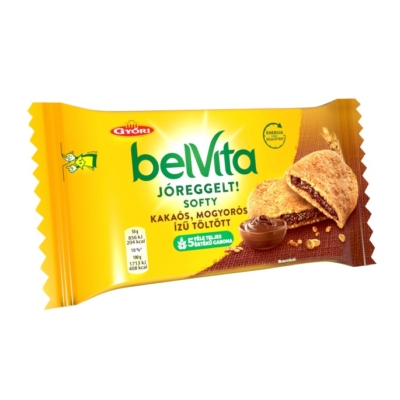 Győri Belvita Jóreggelt csokoládés-mogyorós ízű töltelékkel töltött keksz 50 g