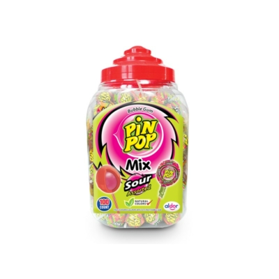 Aldor Pin Pop Sour-Assorted savanyú Nyalóka+Rágó 100*17G