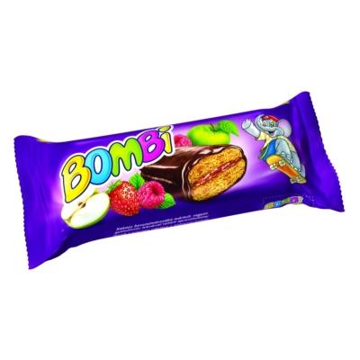 Bombi Star Kakaós bevonómasszába mártott, vegyesgyümölcs ízű lekvárral töltött aprósütemény 45G